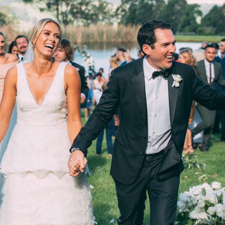 Newsreader Sylvia Jeffreys in a Rebecca Vallance gown at her wedding to Peter Stefanovic.