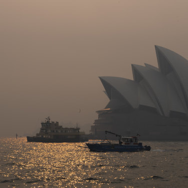 Smoke haze over Sydney Harbour from bushfires burning in NSW in early December.