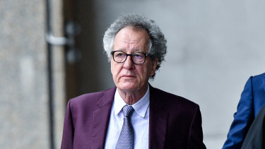Geoffrey Rush arrives at the Federal Court for the third day of his defamation trial.