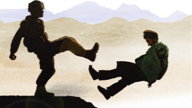 A special forces solider kicks Afghan prisoner Ali Jan. Illustration by Matt Davidson based on eyewitness account.