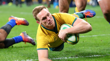 Dane Haylett-Petty scores a try for the Wallabies against Samoa at Bankwest Stadium last Saturday.