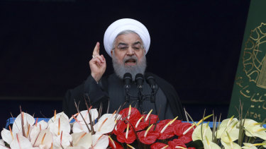 Iranian President Hassan Rouhani addresses the crowd in Freedom Square, Tehran.
