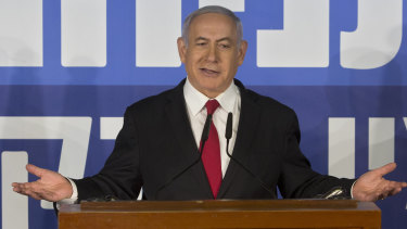 Israeli Prime Minister Benjamin Netanyahu gestures as he delivers a statement at the Prime Minister's residence in Jerusalem.