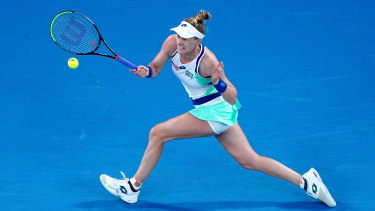 Riske management: The American no.18 seed was pushed to the limit by Ashleigh Barty.