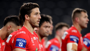Ben Hunt and the Dragons look on after conceding another try.
