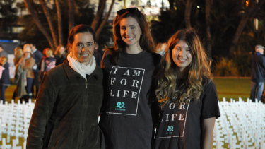 Pro-life campaigners Johanna Banks, Isabelle Lindsey and Lucy Crees at Rally for Life 2018. Photo: Nathan Hondros
