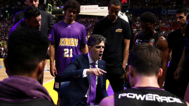 Will Weaver talks to his team during a time-out during the Kings' impressive defeat of Melbourne United at Qudos Bank Arena.