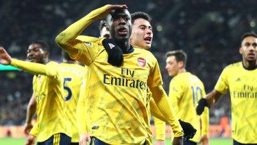 Nicolas Pepe celebrates his goal against West Ham United.