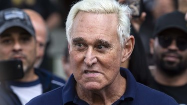 Roger Stone, former adviser to Donald Trump's presidential campaign, leaves federal court in Fort Lauderdale, Florida, after being charged with obstruction.