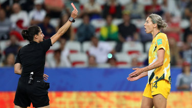 Painful memory: Alanna Kennedy is shown a red card against Norway in the Women's World Cup.
