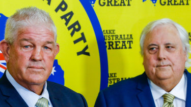 Former rugby league player Greg Dowling (left), who is running for Townsville mayor as an independent, was a candidate for Clive Palmer's political party in the Townsville seat of Herbert at the last federal election.