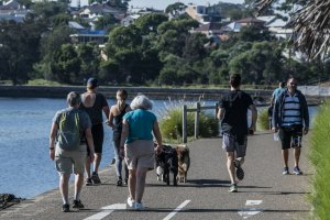 People jogging and walking on the Bay Run, Haberfield this month.