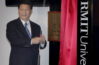 China's then-Vice President Mr Xi Jinping officially opens RMIT'S  Chinese Medicine Confucius Institute on June 20, 2010, at its Bundoora Campus in Victoria.