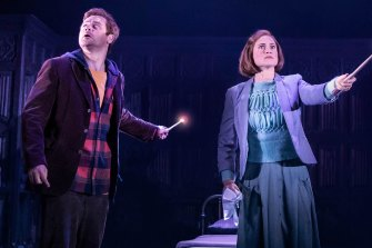 Grantley as Ron Weasley with Lucy Goleby as Ginny Potter in Harry Potter and the Cursed Child.