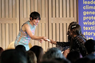 Yael Stone receives a tissue on stage at the All About Women Festival on Sunday March 8, 2020.