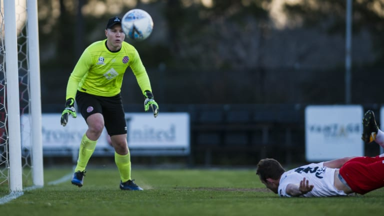 Jordan Thurtell was immense in the Canberra FC goal.