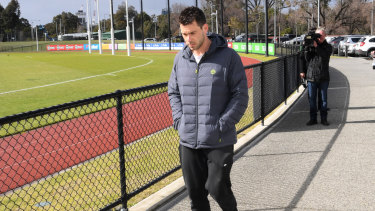 Greenwood arrives at the Holden Centre on Saturday morning.