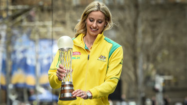 Glittering career: Laura Geitz, pictured with the 2005 netball World Cup, has retired from international netball.