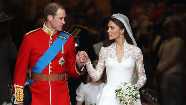 "The Duke and Duchess of Cambridge on their wedding day, April 29 2011. It was a real-life fairy tale – ""girl next door"" marries a prince. And after the tragedy of his mother's death when he was 15, Prince William was finally getting his happy-ever-after."