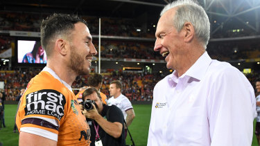 Happier days: Darius Boyd with then-Broncos coach Wayne Bennett in 2018.