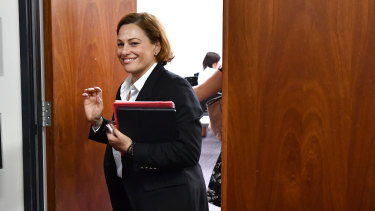 Jackie Trad remained silent after a Labor caucus meeting where the Premier had encouraged her team to air grievances.