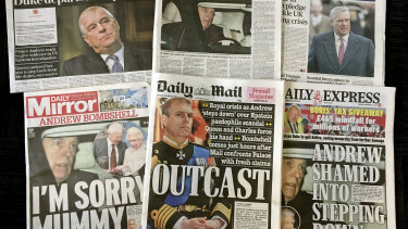 The front pages of some of Britain's major newspapers after Prince Andrew announced he was stepping down from royal duties.