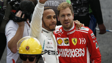 Sebastian Vettel in the revamped Scuderi Ferrari branding, featuring the Mission Winnow logo.
