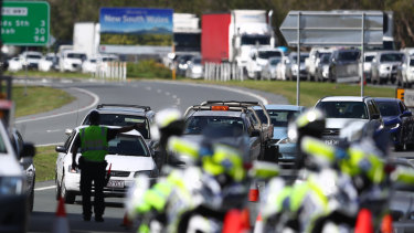 Traffic delays at the Coolangatta checkpoint on March 26 - when the interstate borders were first locked down.