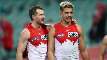 Harry Cunningham with Elijah Taylor after Sydney's round eight win over Hawthorn.