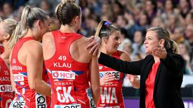Briony Akle celebrates with the Swifts after their extra-time victory.