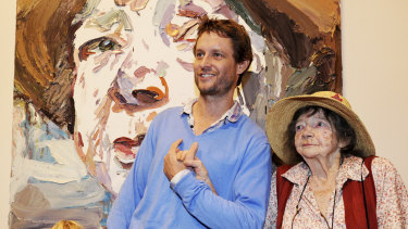 Ben Quilty with Margaret Olley in front of Mr Quilty's portrait of Ms Olley that took out the Archibald Prize in 2011.