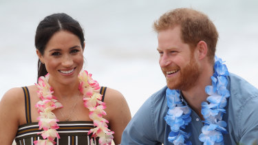 Meghan and Harry on Bondi Beach in October 2018.