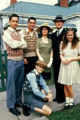 Susan Hannaford (right) with the rest of the cast from The Sullivans.