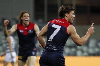 Melbourne's Jack Viney celebrates a goal.