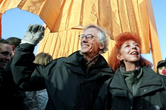 Christo and Jean-Claude at the opening of a project in New York in 2005.