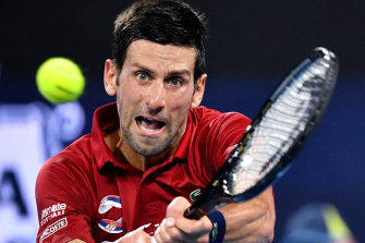 Novak Djokovic during his clash with Gael Monfils at Pat Rafter Arena in Brisbane on Monday.
