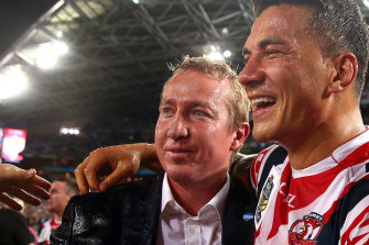 Sonny Bill Williams with Roosters coach Trent Robinson after the 2013 grand final.