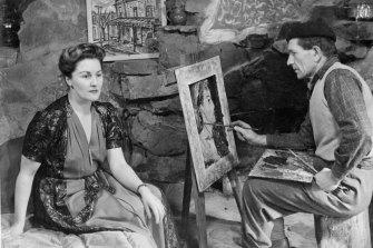 Danila Vassilieff painting a portrait of wife Elizabeth at Stonygrad, Warrandyte, 1947.