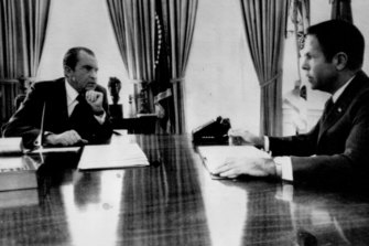 President Richard Nixon meets with former aide H.R. Haldeman during July 1973.