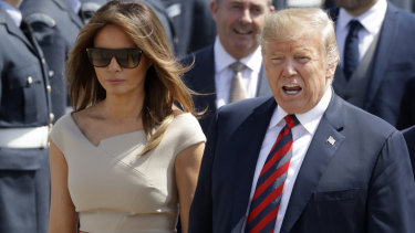 US President Donald Trump and First Lady Melania Trump arriving at Stansted airport ... in London.