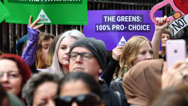 Pro-choice supporters rallied outside NSW Parliament on Wednesday.