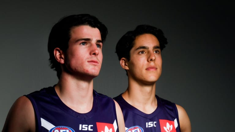 Andrew Brayshaw (left) and Adam Cerra (right) commit to the Fremantle Football Club