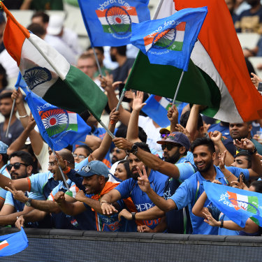 Passionate Indian fans at the Melbourne Cricket Ground in 2018. The growing crowds when India plays Australia reflect Melbourne's increasingly Indian ethnic mix.