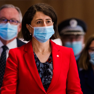 Premier Gladys Berejiklian, Health Minister Brad Hazzard, Chief Health Officer Dr Kerry Chant and Police Deputy Commissioner Gary Worboys after a COVID-19 briefing. Lockdown communities say there needs to be more consultation.