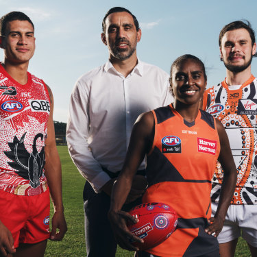 Over to you: Adam Goodes has passed the reins of the talent program that bears his name onto the next generation of Indigenous players - Sydney rookie James Bell, Giants AFLW player Delma Gisu and GWS Giants backman Zac Williams.