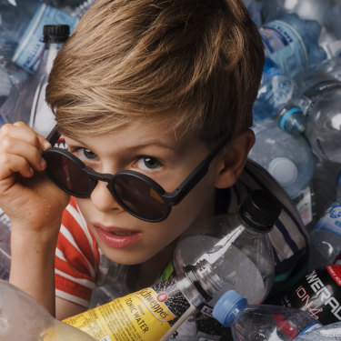 Good Citizens started because Harry Robinson, 8, passionately wanted to help solve the plastic waste problem. He is wearing a prototype of the sunglasses.