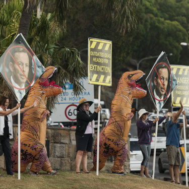 Protesting in clear view of traffic crossing the Spit Bridge, in the heart of Warringah.