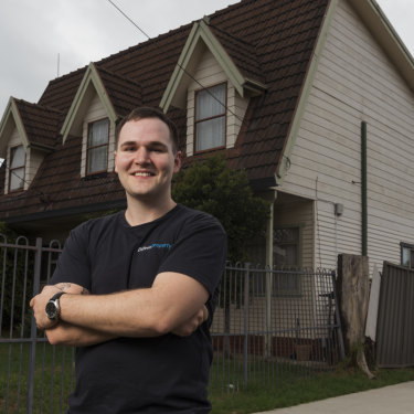 Eddie Dilleen, a 28-year-old property investor who bought 16 houses and apartments during the housing boom pictured outside one of his latest purchases in Wentworthville.