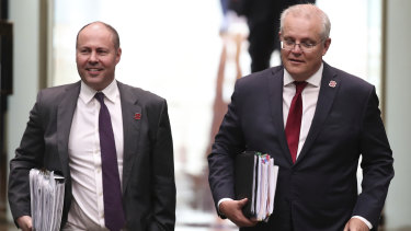 Treasurer Josh Frydenberg and Prime Minister Scott Morrison . The budget will be delivered on Tuesday.