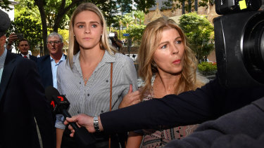 Swimmer Shayna Jack (left) and her mother Pauline leave the briefing with ASADA  earlier this month.